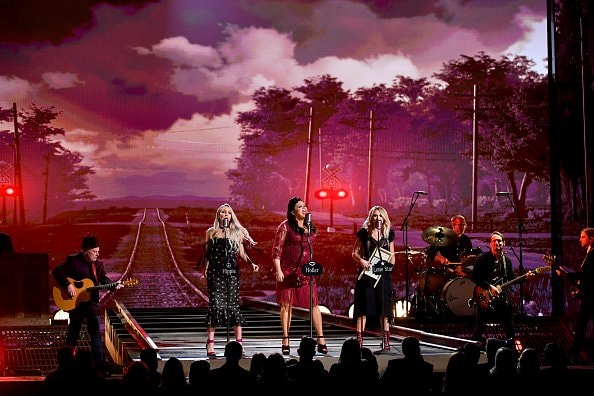 Singers Ashley Monroe, Angaleena Presley, and Miranda Lambert of Pistol Annies perform onstage during the 52nd annual CMA Awards at the Bridgestone Arena on November 14, 2018 in Nashville, Tennessee.  (Photo by Michael Loccisano/Getty Images)