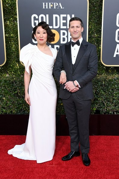 BEVERLY HILLS, CA - JANUARY 06:  Hosts Sandra Oh and Andy Samberg attends the 76th Annual Golden Globe Awards at The Beverly Hilton Hotel on January 6, 2019 in Beverly Hills, California.  (Photo by Jon Kopaloff/Getty Images)