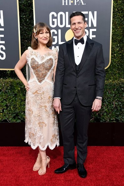 BEVERLY HILLS, CA - JANUARY 06:  Joanna Newsom (L) and host Andy Samberg attend the 76th Annual Golden Globe Awards at The Beverly Hilton Hotel on January 6, 2019 in Beverly Hills, California.  (Photo by Frazer Harrison/Getty Images)