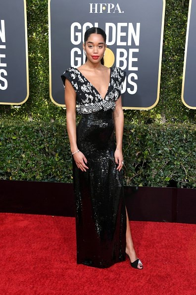 BEVERLY HILLS, CA - JANUARY 06: Laura Harrier attends the 76th Annual Golden Globe Awards at The Beverly Hilton Hotel on January 6, 2019 in Beverly Hills, California.  (Photo by Jon Kopaloff/Getty Images)