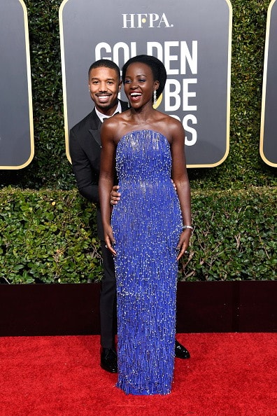 BEVERLY HILLS, CA - JANUARY 06:  Michael B. Jordan (L) and Lupita Nyong'o attend the 76th Annual Golden Globe Awards at The Beverly Hilton Hotel on January 6, 2019 in Beverly Hills, California.  (Photo by Frazer Harrison/Getty Images)