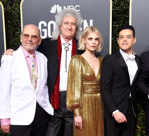 BEVERLY HILLS, CA - JANUARY 06:  (L-R) Jim Beach, Brian May of Queen, Lucy Boynton, and Rami Malek attend the 76th Annual Golden Globe Awards at The Beverly Hilton Hotel on January 6, 2019 in Beverly Hills, California.  (Photo by Frazer Harrison/Getty Images)
