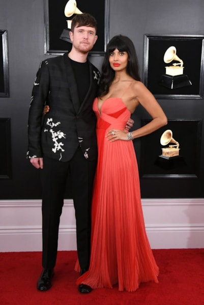 LOS ANGELES, CALIFORNIA - FEBRUARY 10: James Blake and Jameela Jamil attend the 61st Annual GRAMMY Awards at Staples Center on February 10, 2019 in Los Angeles, California. (Photo by Jon Kopaloff/Getty Images)
