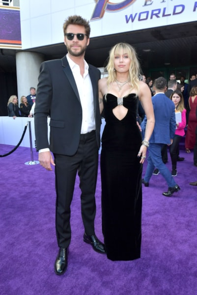 "LOS ANGELES, CA - APRIL 22:  Liam Hemsworth and Miley Cyrus attend the world premiere of Walt Disney Studios Motion Pictures ""Avengers: Endgame"" at the Los Angeles Convention Center on April 22, 2019 in Los Angeles, California.  (Photo by Amy Sussman/Getty Images)"