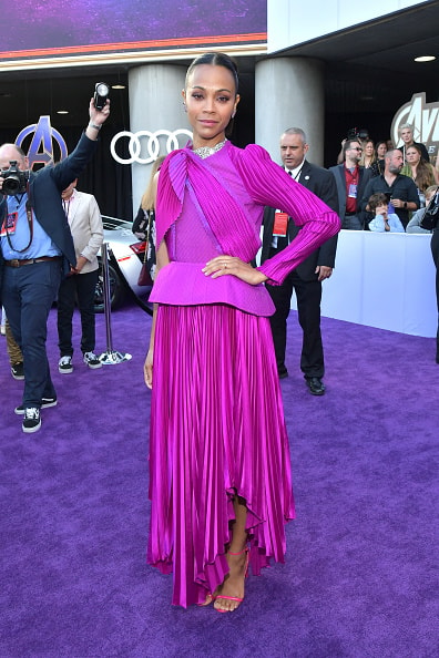 "LOS ANGELES, CA - APRIL 22:  Zoe Saldana attends the world premiere of Walt Disney Studios Motion Pictures ""Avengers: Endgame"" at the Los Angeles Convention Center on April 22, 2019 in Los Angeles, California.  (Photo by Amy Sussman/Getty Images)"