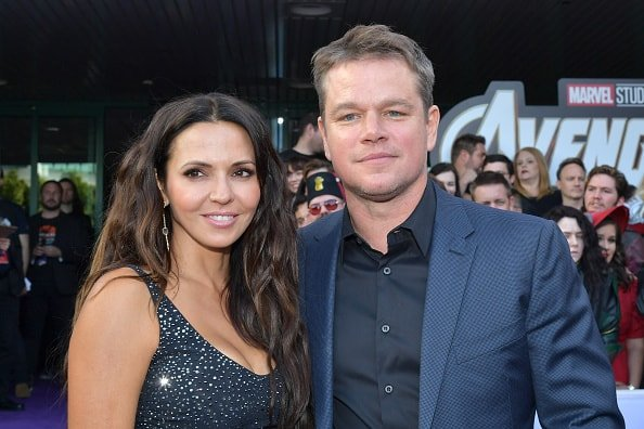 "LOS ANGELES, CA - APRIL 22:  Luciana Barroso (L) and Matt Damon attend the world premiere of Walt Disney Studios Motion Pictures ""Avengers: Endgame"" at the Los Angeles Convention Center on April 22, 2019 in Los Angeles, California.  (Photo by Amy Sussman/Getty Images)"