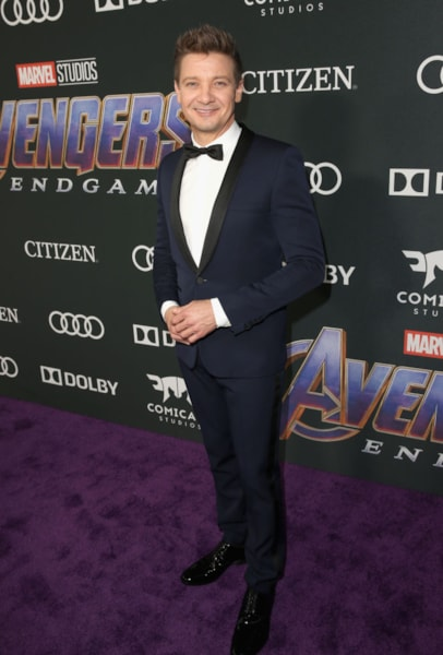 "LOS ANGELES, CA - APRIL 22:  Jeremy Renner attends the Los Angeles World Premiere of Marvel Studios' ""Avengers: Endgame"" at the Los Angeles Convention Center on April 23, 2019 in Los Angeles, California.  (Photo by Jesse Grant/Getty Images for Disney)"