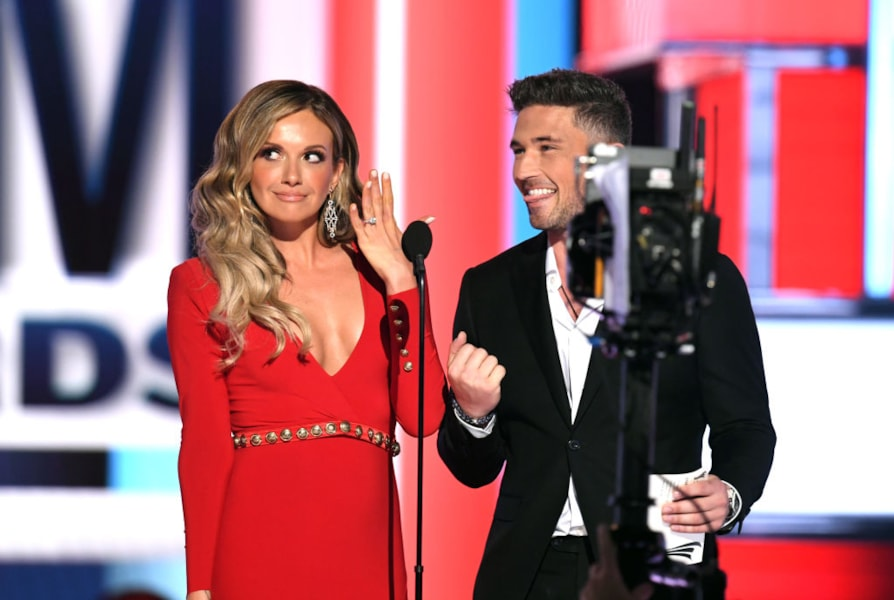 Carly Pearce and Michael Ray speak onstage during the 54th Academy Of Country Music Awards at MGM Grand Garden Arena on April 07, 2019 in Las Vegas, Nevada.
