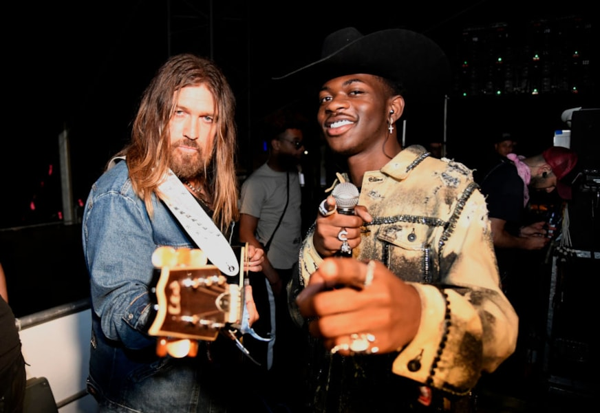 INDIO, CALIFORNIA - APRIL 28:  Billy Ray Cyrus (L) and Lil Nas X pose backstage during the 2019 Stagecoach Festival at Empire Polo Field on April 28, 2019 in Indio, California. (Photo by Frazer Harrison/Getty Images for Stagecoach)