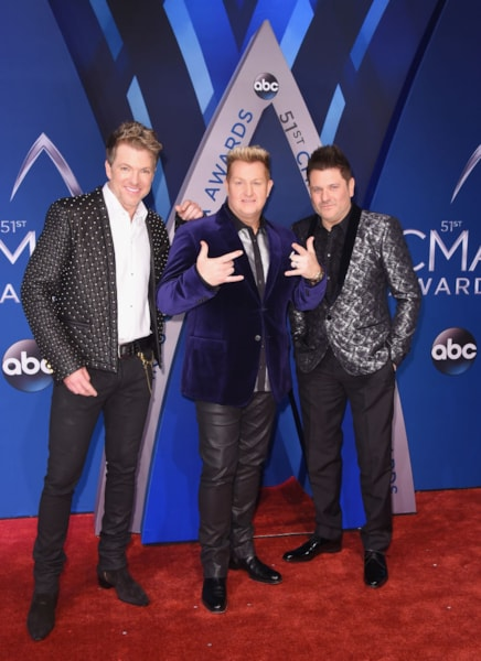 NASHVILLE, TN - NOVEMBER 08: (L-R) Joe Don Rooney, Gary LeVox and Jay DeMarcus of Rascal Flatts attend the 51st annual CMA Awards at the Bridgestone Arena on November 8, 2017 in Nashville, Tennessee.  (Photo by Michael Loccisano/Getty Images)
