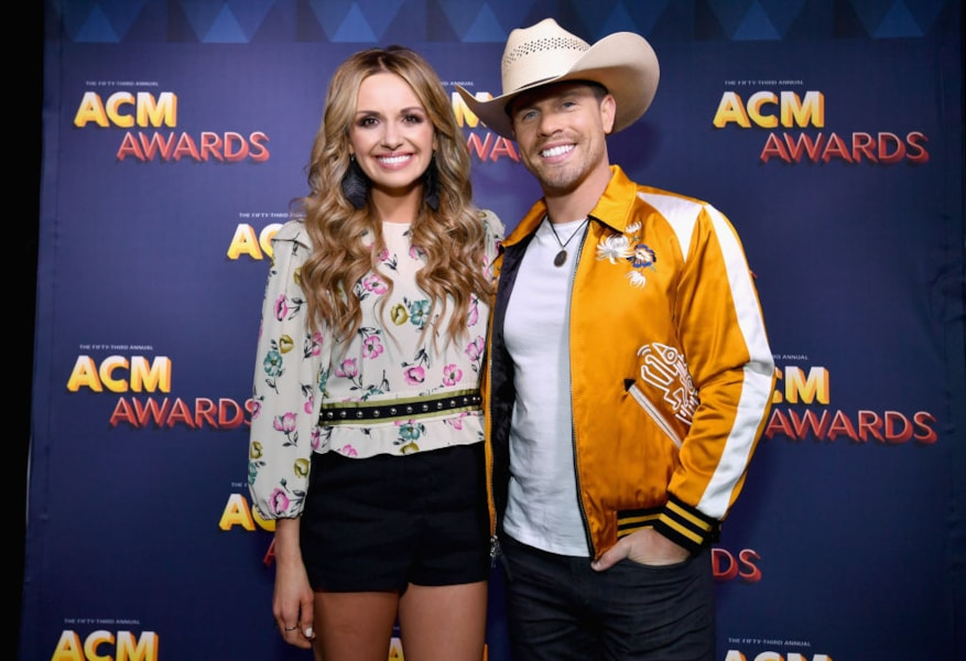 Carly Pearce (L) and Dustin Lynch attend the Radio Awards Reception during the 53rd Academy of Country Music Awards at Topgolf Las Vegas on April 14, 2018 in Las Vegas, Nevada.