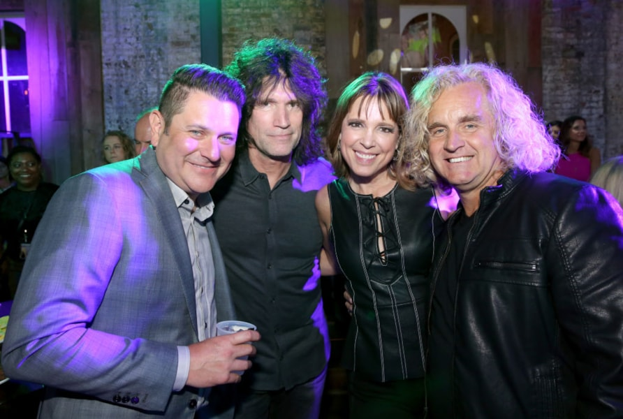 NASHVILLE, TN - APRIL 24: (L-R) Artist Jay DeMarcus, artist Tommy Thayer, journalist Hannah Storm and artist Jason Schef attend the 17th annual Waiting for Wishes celebrity dinner at Whiskey Row Nashville on April 24, 2018 in Nashville, Tennessee.  (Photo by Terry Wyatt/Getty Images for The Kevin Carter Foundation)