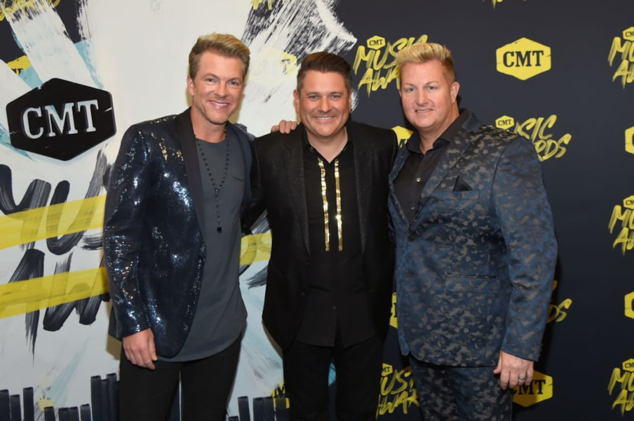 NASHVILLE, TN - JUNE 06: (L-R) Joe Don Rooney, Jay DeMarcus and Gary LeVox of musical group Rascal Flatts  attend the 2018 CMT Music Awards at Bridgestone Arena on June 6, 2018 in Nashville, Tennessee.  (Photo by Rick Diamond/Getty Images for CMT)