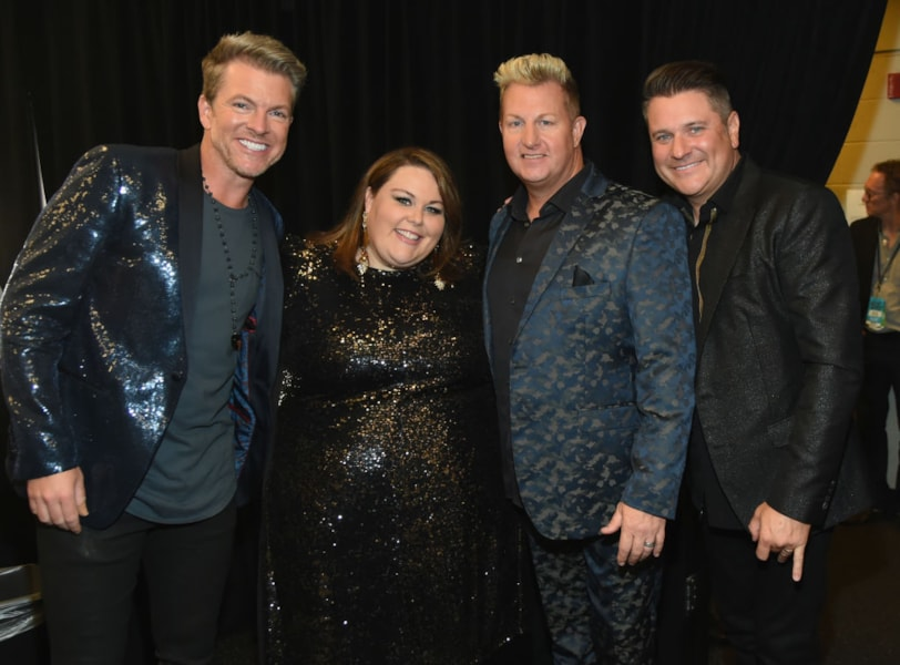 NASHVILLE, TN - JUNE 06:  (L-R)  Joe Don Rooney, Chrissy Metz, Gary LeVox and Jay DeMarcus attend the 2018 CMT Music Awards - Backstage & Audience at Bridgestone Arena on June 6, 2018 in Nashville, Tennessee.  (Photo by Rick Diamond/Getty Images for CMT)