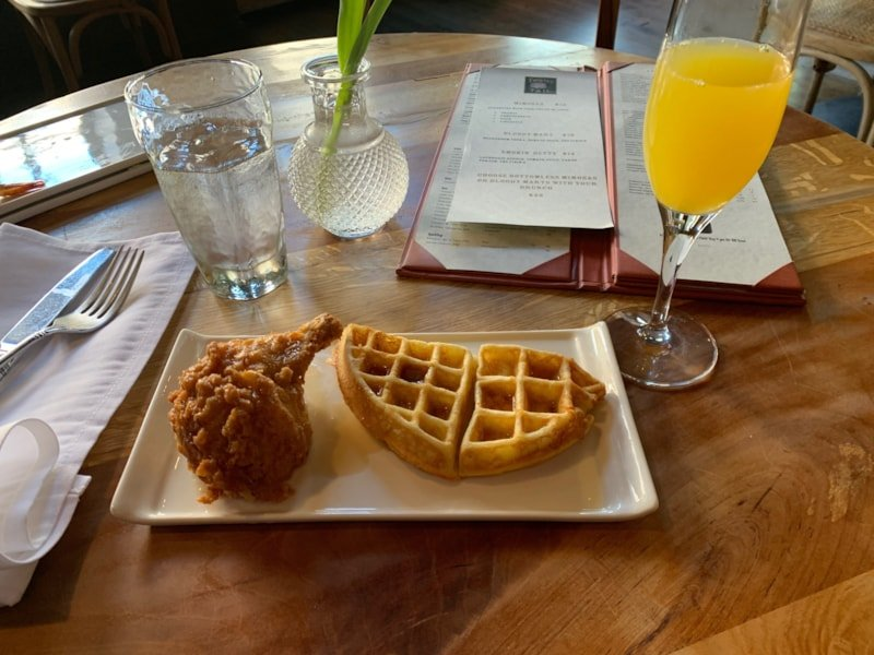 I made my own version of Chicken & Waffles during the Easter Brunch buffett