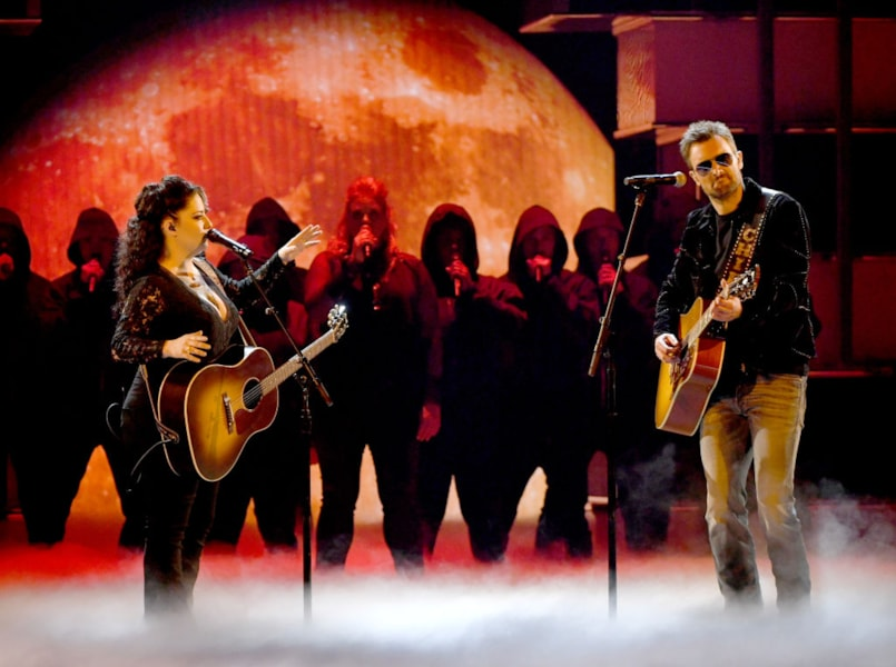 LAS VEGAS, NEVADA - APRIL 07: (L-R) Ashley McBryde and Eric Church perform onstage during the 54th Academy Of Country Music Awards at MGM Grand Garden Arena on April 07, 2019 in Las Vegas, Nevada. (Photo by Kevin Winter/Getty Images)