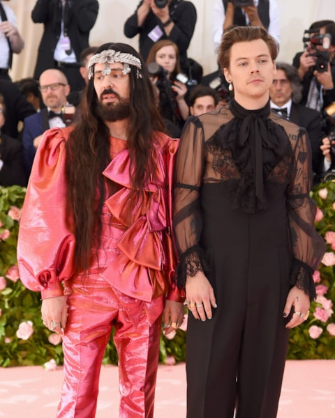 NEW YORK, NEW YORK - MAY 06: Alessandro Michele and Harry Styles attend The 2019 Met Gala Celebrating Camp: Notes on Fashion at Metropolitan Museum of Art on May 06, 2019 in New York City. (Photo by Jamie McCarthy/Getty Images)