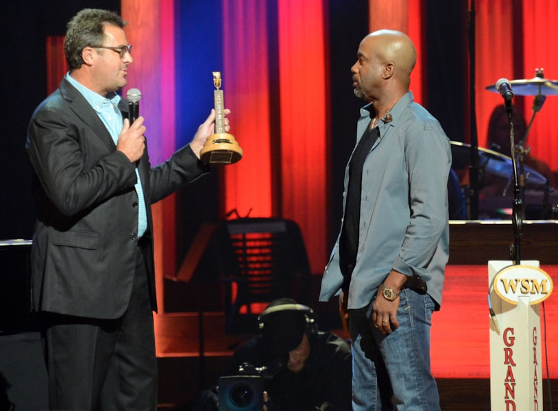 NASHVILLE, TN - OCTOBER 16:  Opry Member Vince Gill and Newest member of the Grand Ole Opry Darius Rucker at Darius Rucker's induction into The Grand Ole Opry on October 16, 2012 in Nashville, Tennessee.  (Photo by Rick Diamond/Getty Images)