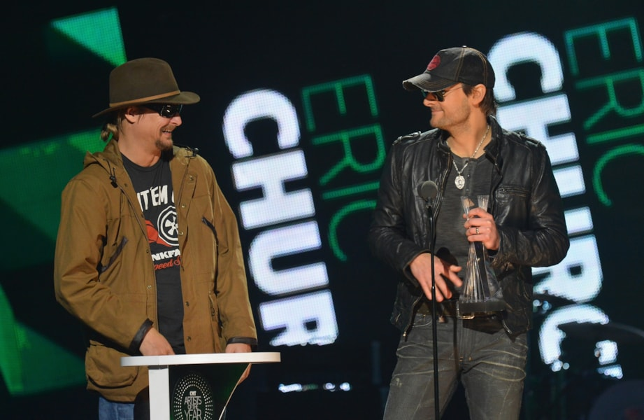 FRANKLIN, TN - DECEMBER 03:  Kid Rock presents award to Eric Church onstage during the 2012 CMT Artists Of The Year at The Factory at Franklin on December 3, 2012 in Franklin, Tennessee.  (Photo by Rick Diamond/Getty Images for CMT)