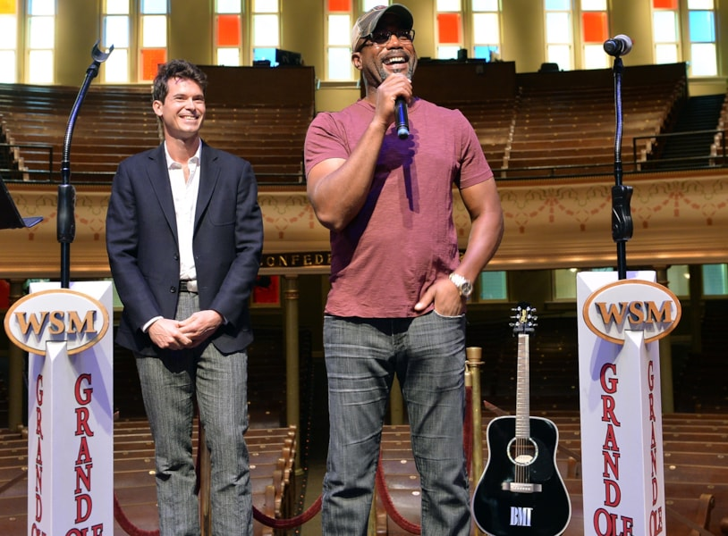 """NASHVILLE, TN - SEPTEMBER 16:  Darius Rucker and Old Crow Medicine Show's Ketch Secor Celebrate their No.1 Song """"Wagon Wheel"""" at the historic Ryman Auditorium on September 16, 2013 in Nashville, TN. United States.  (Photo by Rick Diamond/Getty Images for BMI)"""