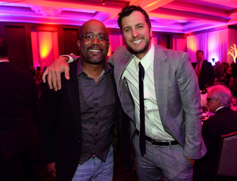 NASHVILLE, TN - MARCH 10: Musicians Darius Rucker (L) and Luke Bryan attend the T.J. Martell Foundation Nashville Honors Gala at the Omni Hotel on March 10, 2014 in Nashville, Tennessee.  (Photo by Rick Diamond/Getty Images for the T.J. Martell Foundation)