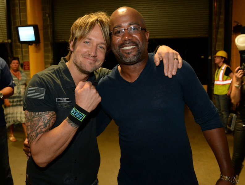 """NASHVILLE, TN - MAY 06: (EXCLUSIVE COVERAGE) Keith Urban and Darius Rucker attend Keith Urban's Fifth Annual """"We're All 4 The Hall"""" Benefit Concert at the Bridgestone Arena on May 6, 2014 in Nashville, Tennessee.  (Photo by Rick Diamond/Getty Images for the Country Music Hall of Fame and Museum)"""