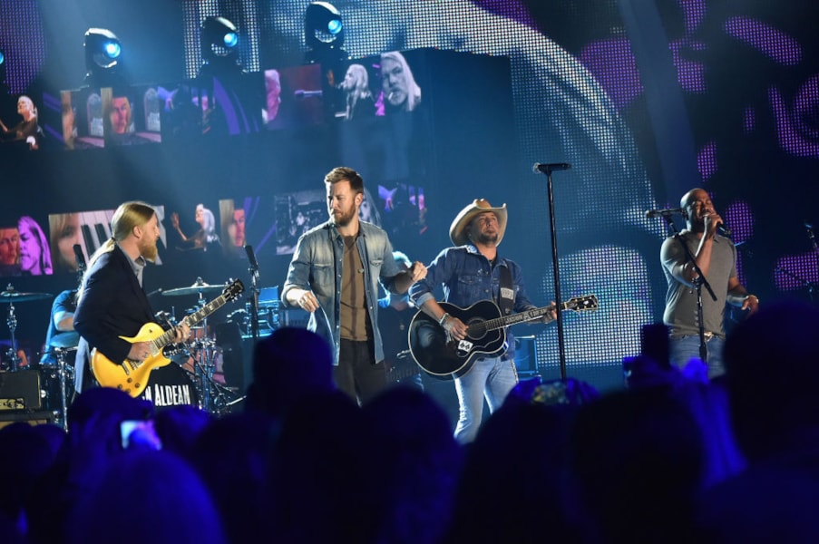 NASHVILLE, TN - JUNE 07:  Charles Kelley of Lady Antebellum, Jason Aldean, and Darius Rucker perform onstage during the 2017 CMT Music Awards at the Music City Center on June 6, 2017 in Nashville, Tennessee.  (Photo by Mike Coppola/Getty Images for CMT)
