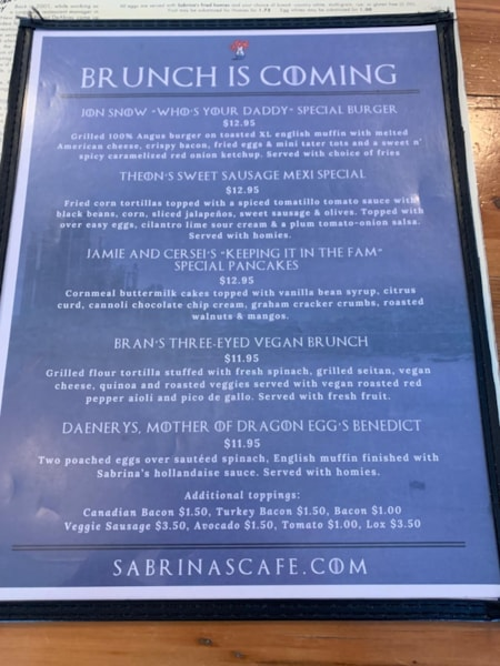 """They have a special menu based on """"The Game Of Thrones"""""""