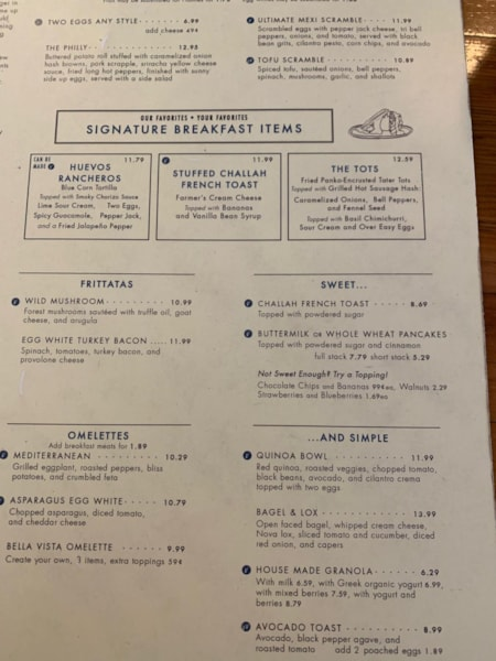 The brunch menu has an awesome variety.